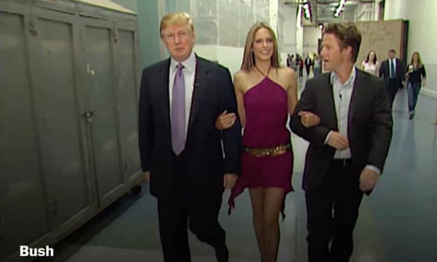 Billy Bush, right, with Donald Trump and Arianne Zucker in the clip obtained by the Washington Post.