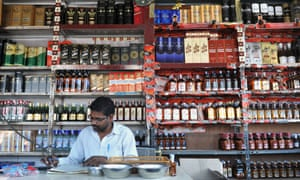 Interior of an alcohol store in Hyderabad, India