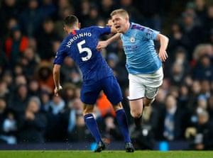 Chelsea's Jorginho (left) fouls Manchester City's Kevin De Bruyne.