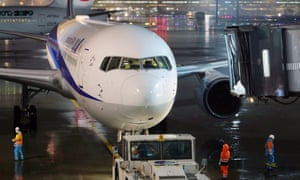 A chartered aircraft operated by All Nippon Airways prepares to leave for Wuhan