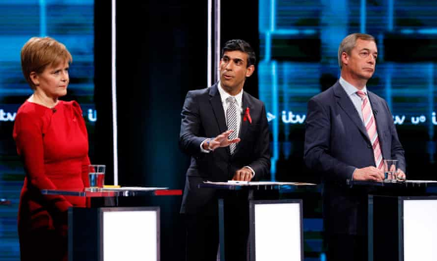 (L-R) Scottish National Party leader Nicola Sturgeon, Conservative party's Rishi Sunak, and Brexit Party leader Nigel Farage during the ITV Election Debate in London