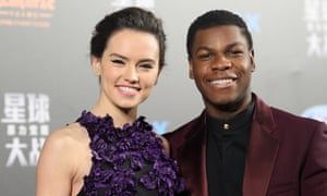 Star Wars: The Force Awakens cast members Daisy Ridley and John Boyega at the film's Chinese premiere in Shanghai on 27 December.