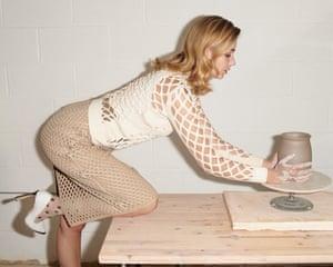 Mesh effect pullover, £850, mesh effect skirt, POA, monogram socks, £150, shoes, £750, by Fendi