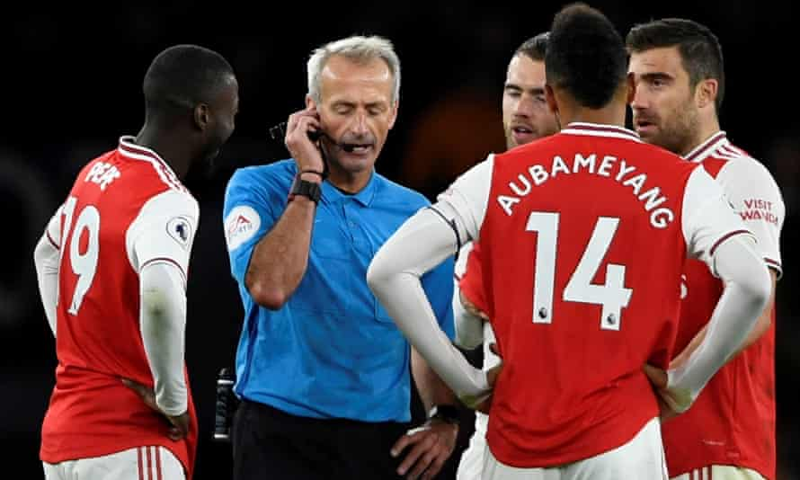 Arsenal had a winning goal against Crystal Palace disallowed seven minutes from time on Sunday after a lengthy VAR review with no explanation offered to fans in the stadium.
