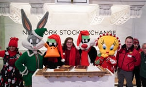 Warner Brothers Cartoon characters ringing the closing bell on Wall Street last night.