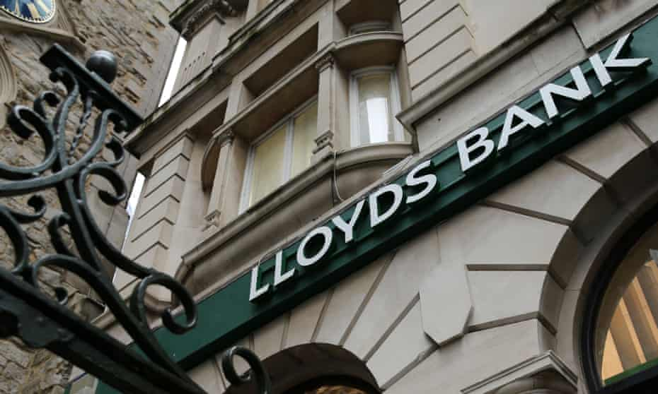 Signage on a branch of Lloyds bank