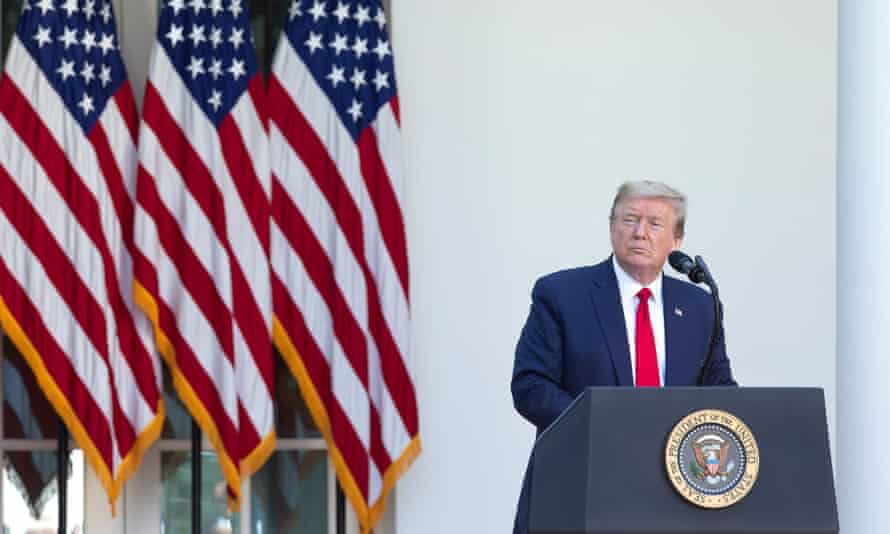 Donald Trump delivers remarks during the National Day of Prayer Service at the White House in Washington, on 7 May.