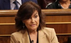 Spanish deputy prime minister, Carmen Calvo, who will visit the Vatican on Monday.