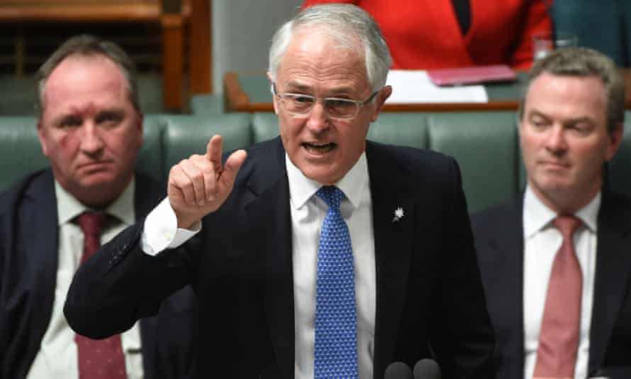 Barnaby Joyce, Malcolm Turnbull and Christopher Pyne in question time
