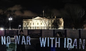 Demonstrators outside the White House amid tensions between the US and Iran.