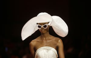 Couture Orapeleng Modutle, known for their bold wedding designs and occasionwear, stunned the Frow with structural dresses and hats.