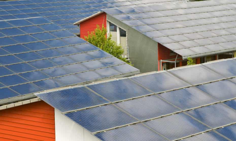 Solar roofs in Freiburg, Baden-Wuerttemberg, Germany show that green building standards could cut electricity use.