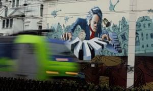 A mural of Ludwig van Beethoven in Bonn.