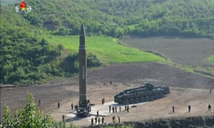 A screengrab from footage on North Korean TV purporting to show preparations for Tuesday's missile test.