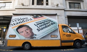 a van mounted with a billboard mocking George Osborne's appointment as editor of the London Evening Standard