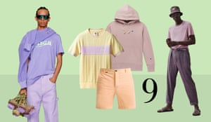 Pastels: Bring out your softer side in ice-cream shades as seen at Isabel Marant, MSGM, Hermès, and Ermenegildo Zegna. Wear different shades of the same colour head-to-toe. From left: MSGM SS21. T-shirt, £159, Wales Bonner x Adidas at walesbonner.net. Shorts, £79, mrmarvis.co.uk. Hoodie, £90, Champion at mrporter.com. Isabel Marant SS21