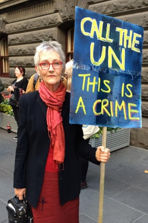"Penny Moody attended the Melbourne #sosblakaustralia protest against possible closures of remote communities in Western Australia, on ""I hope to stop the first closure of aboriginal communities which I think is a crime against the aboriginal nation, and against the civil rights which Australia is a signatory."""