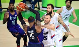 Carmelo Anthony confronts Serbia