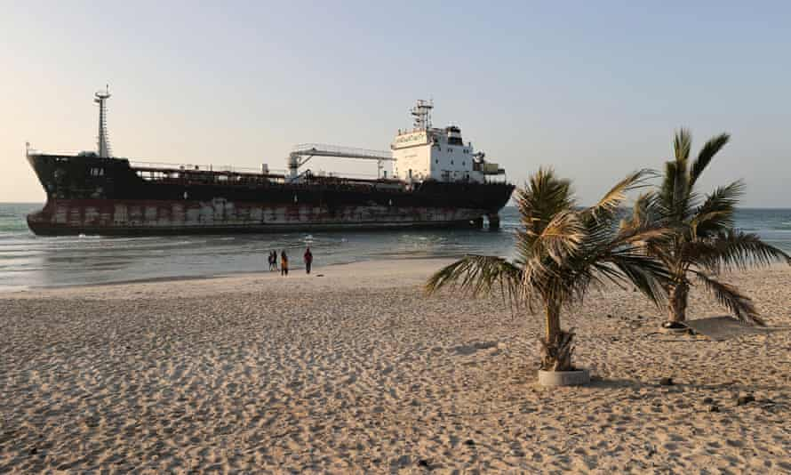 The tanker seen from the beach