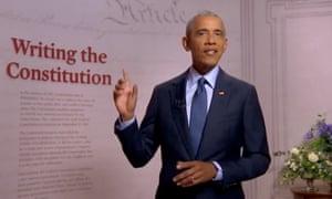 Barack Obama habla ante la Convención Nacional Demócrata en agosto.