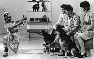 'A place where children are not marketed to' … a dancer performs for Peter Purves, John Noakes, Valerie Singleton and dogs Petra and Patch.