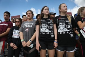 Marjory Stoneman Douglas High School students participate in the March For Our Lives event at Pine Trails Par, Florida.