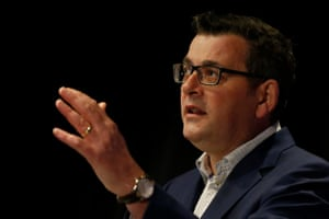 Victoria's premier Daniel Andrews at the briefing today.