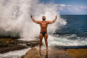 'These men weren't like any I'd seen before in the Middle East' … Jamal, a 26-year-old bodybuilder, poses on Beirut's famous Corniche promenade.