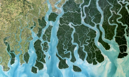 A satellite image of the Ganges delta, which is vulnerable to flooding as sea levels rise