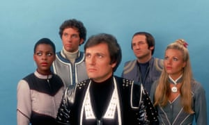 Paul Darrow, foreground, with other cast members from Blake's 7: from left, Josette Simon (Dayna Mellanby), Steven Pacey (Dell Tarrant), Michael Keating (Vila Restal) and Glynis Barber (Soolin).
