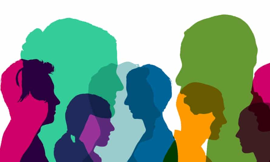 Many heads team as illustration in different bright colors