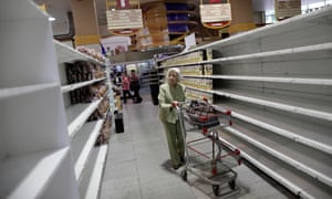 Empty shelves in Caracas