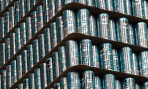Punk IPA craft beer cans stacked at Brewdog's brewery in Ellon, Aberdeenshire.