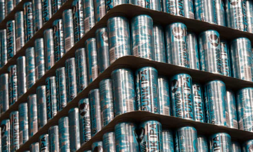 A huge stack of Punk IPA cans