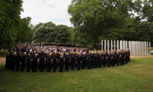 The Rock Choir perform at a service at the July 7 memorial in Hyde Park, London