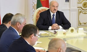 Alexander Lukashenko chairs a security council meeting in Minsk on Tuesday