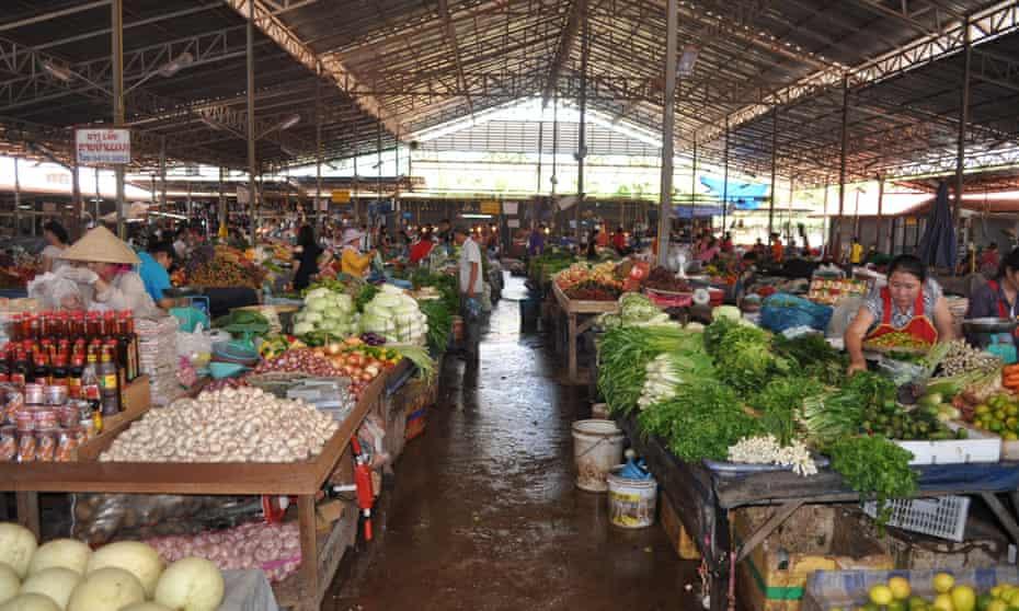 Laos food market.