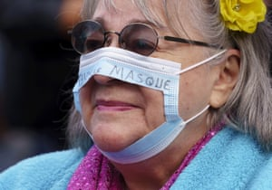Montreal, Canada A protester attends an anti-mask rally