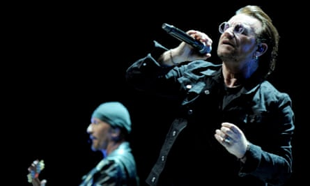 Rediscovering the innocence … U2's Bono and the Edge at Manchester Arena.