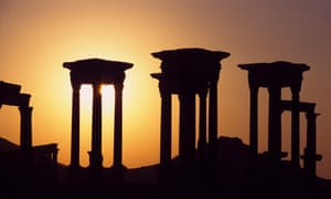 Columns in Palmyra at sunset