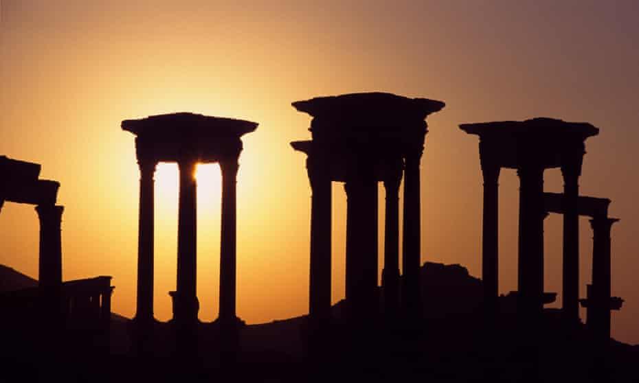 Columns in Palmyra at sunset