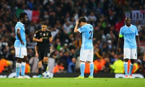 A deflated Manchester City prepare to kick-off after Juventus had scored what proved to be their winning goal in the Champions League Group D game.