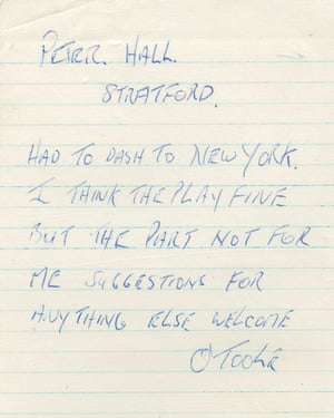 Peter O'Toole's note to Peter Hall when he left the Royal Shakespeare Company in 1960.