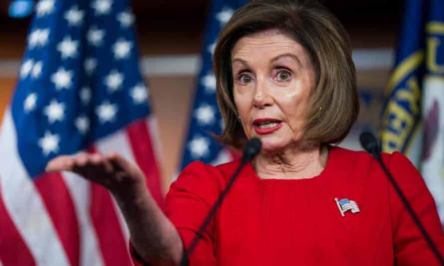 Speaker of the House Nancy Pelosi speaks to the media about the impeachment inquiry on Capitol Hill on 14 November.