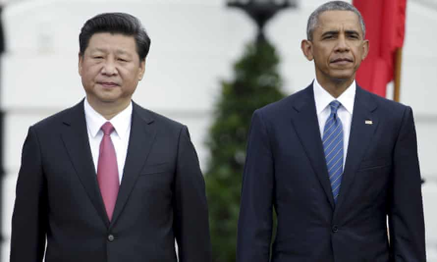 Xi Jinping with Barack Obama at the White House in September 2015.