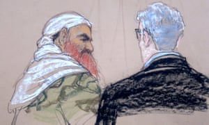 Sketch showing Khalid Sheikh Mohammed speaking with the lead defence lawyer, David Nevin