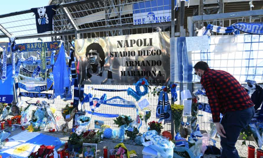Tributes outside San Paolo stadium in Naples
