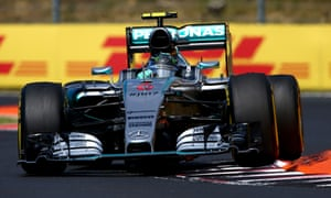 Nico Rosberg keeping his Mercedes in thrid ahead of Hamilton.