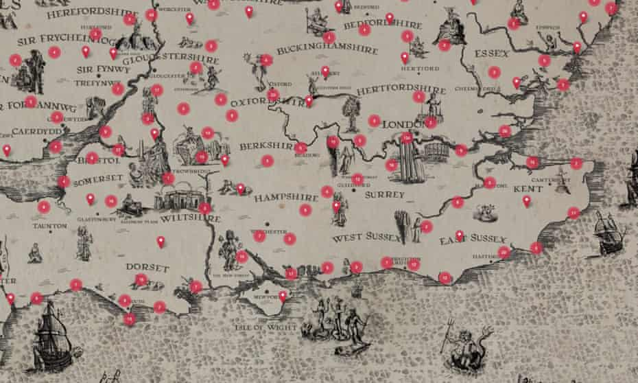 'They've opened a Costa in Deptford' ... detail from the Places of Poetry map.