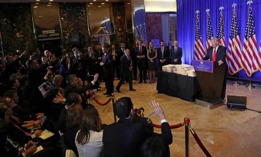 Donald Trump gives a press conference in the lobby of Trump Tower, New York, January 2017